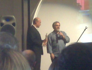 Jim Balsillie gets an Oscar from Jon Landau at THEMUSEUM